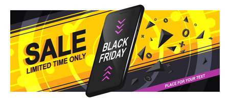 Banner sale for Black Friday. A realistic black smartphone in motion with triangular fragments and details, on a bright background, with circles and diagonal lines. Vector illustration of Eps10.