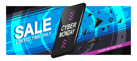 Banner sale for Cyber Monday. A realistic black smartphone in motion with triangular fragments and details, on a bright background, with circles and diagonal lines. Vector illustration of Eps10.