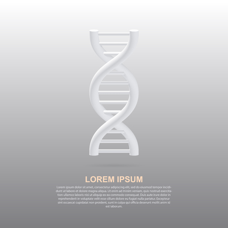 DNA helix with shadow. White 3d DNA spiral on white background. Vector illustration EPS10.