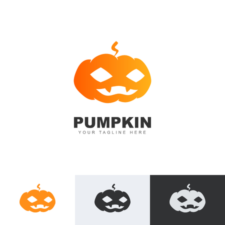 Orange pumpkin logo isolated on white background. Halloween icon. Vector illustration eps10. Stock Vector - 124983191