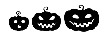 Pumpkin family. Collection of pumpkin cartoon characters silhouettes isolated on white background. Halloween emblems. Vector eps10. Illustration