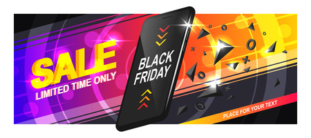 Banner sale for Black Friday. A realistic black smartphone in motion with triangular fragments and details, on a colorful background, with circles and diagonal lines. Vector EPS10. Reklamní fotografie
