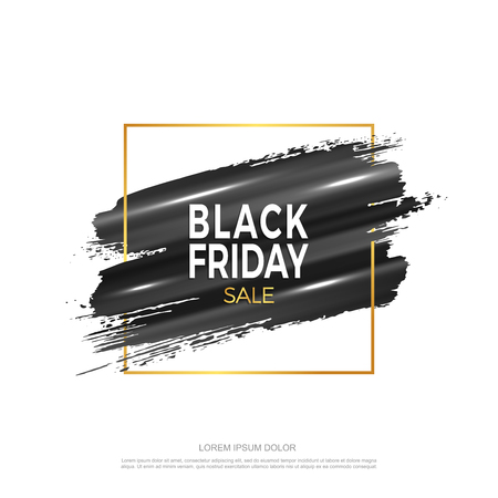 Design elements for banner Black friday. Black strokes of paint in a gold frame on a white background. Vector eps10.