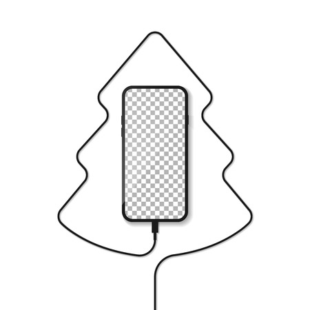 Smartphone. Telephone charger wire in the form of a silhouette of a Christmas tree.