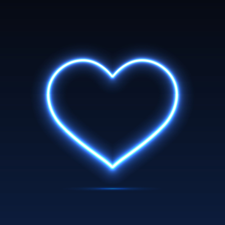 Neon heart. Bright neon light. Empty template. Valentines Day. Womens Day. Vector eps10
