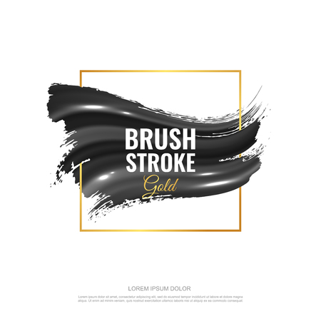 Wavy brush strokes with highlights from the light. Gold frame. Isolated on white background. Eps10 vector