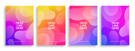 Set of colorful covers with liquid forms. Wavy shapes with gradient. Modern design. Eps10 vector