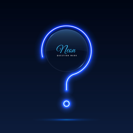 Neon question mark. Glass banner of a round shape. Transparent billboard with neon lights. Vector illustration.