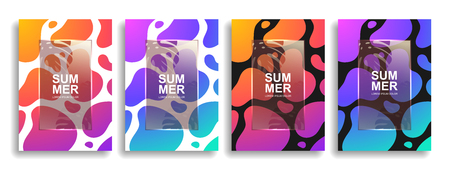 A collection of colorful liquid covers. Wavy shapes with gradient. Modern design. Eps10 vector Illustration