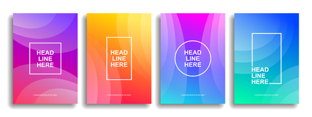 A collection of colorful covers. Wavy shapes with gradient. Modern design. Eps10 vector Ilustração