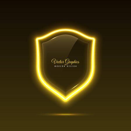 Glass banner shape shield. Transparent billboard with neon lights.