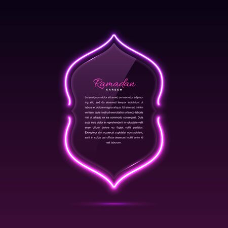 Glass banner arabic style. Transparent billboard with neon lights.