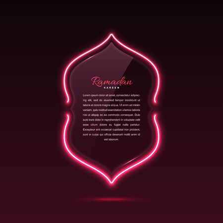 Glass banner arabic style. Transparent billboard with neon lights. Vector illustration.