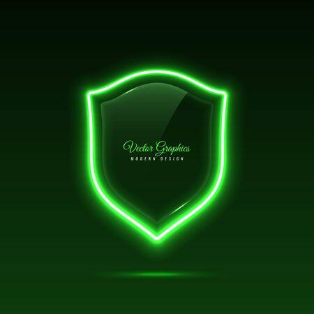 Glass banner shape shield. Transparent billboard with neon lights. Vector illustration.