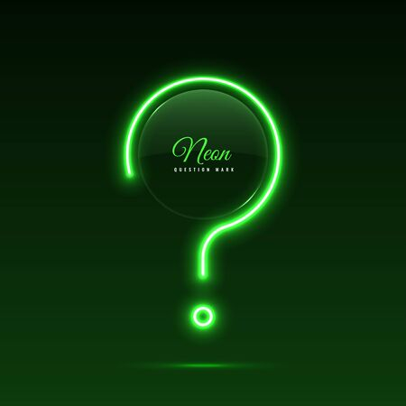 Neon question mark. Glass banner of a round shape. Transparent billboard with neon lights. Vector Çizim