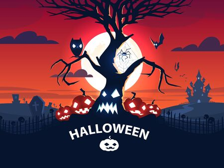 Halloween banner. A family of pumpkins, a tree, an owl, bats, a spider on the web, a cemetery and Draculas castle against the background of the moon. Vector EPS 10