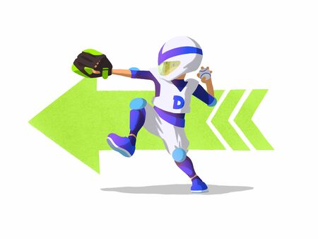 A young boy baseball player throws a ball. Cartoon character isolated on a white background.