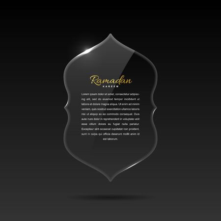 Glass banner in arabic style with place for text, reflection and highlights. Vector eps 10. Çizim