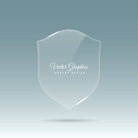 Glass transparent banner in the shape of a shield with reflection and glare of light. Vector eps 10.