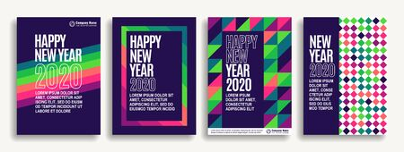 Set of designer covers for celebrating the new year. Event invitation flyer. EPS10 vector Çizim