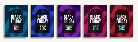 Set of designer covers for black friday in different colors. Holiday discounts and sale. Advertising banners. Vector eps 10.