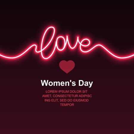 Neon love. Valentines Day. Womens Day. Vector Ilustrace