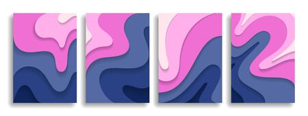 Collection of modern designer covers. Paper cut wavy layers. Gradation of color. Eps10 vector