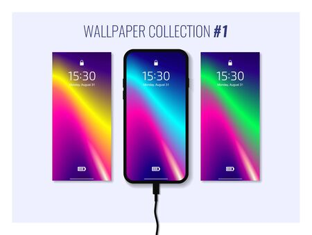 Set of colorful wallpapers for smartphone. Mobile gadget interface. Abstract background. Çizim