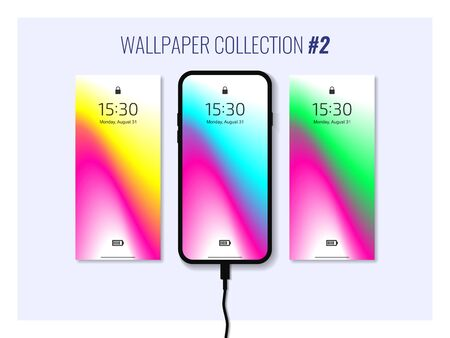 Set of colorful wallpapers for smartphone. Mobile gadget interface. Abstract background. Vector eps10