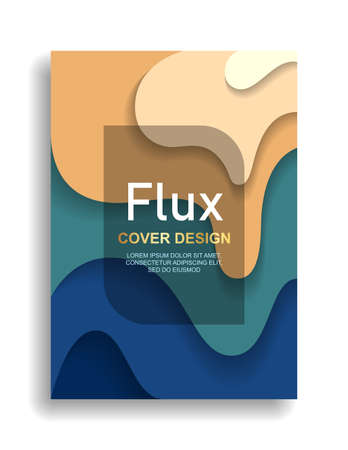 Modern cover design. Cut paper layers of fluid flow. Gradation of color.