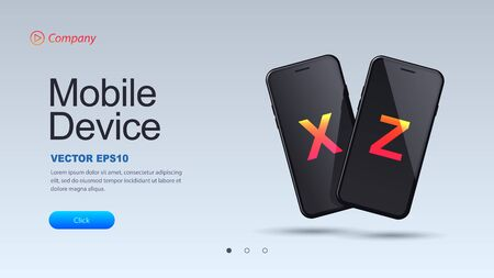 Website landing page or banner template. Two black smartphones on a light background. Vector