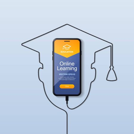 The smartphone is charging via usb wire. The interface of the website or application for online learning for an educational institution. The logo of the square academic cap. Vector eps 10.