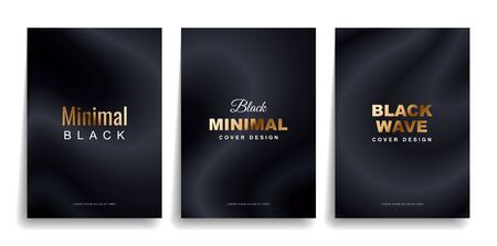 Set of designer covers. Black minimal cover with golden text.