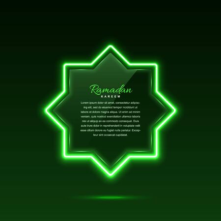 Glass banner with neon lights. Star in arabic style. Vector eps10