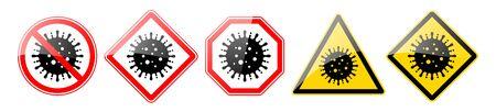 Set of danger signs coronavirus.