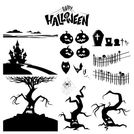 Set of silhouettes of characters and objects for halloween. Vector