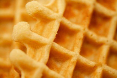 Butter waffles close up