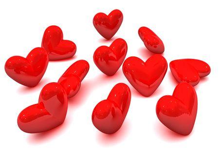 radiosity: Valentine hearts Stock Photo