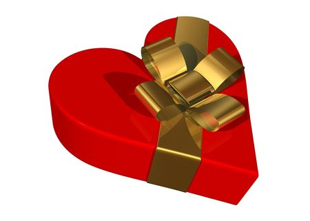 Valentine gift box with a skewed golden ribbon photo