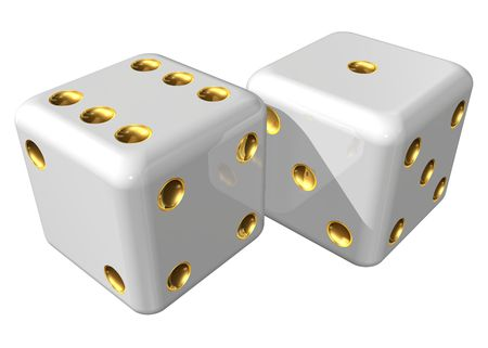 chances are: Two dices on a white background Stock Photo