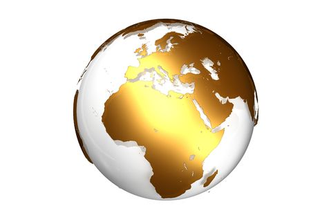 Golden globe with view on Europe and Africa photo
