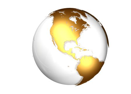 latitude: Golden globe with view North and South America
