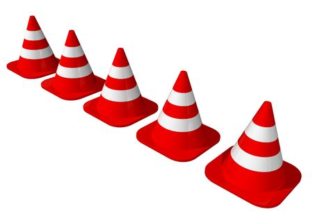 lined up: Traffic cones lined up