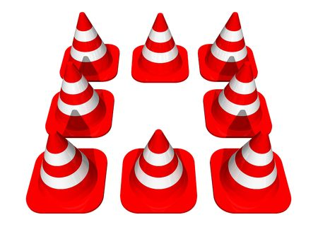 Traffic cones forming a square Stock Photo - 716280