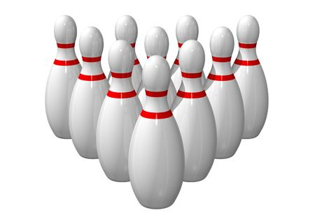 lined up: Ten bowling pins lined up