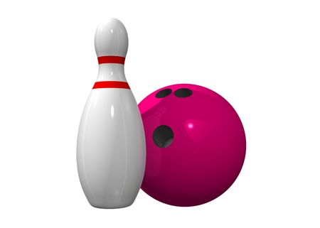 red pin: Single bowling pin with bowling ball