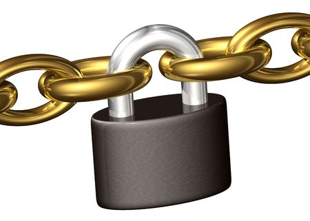 keeping: Padlock keeping chains toghether