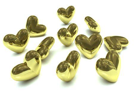 radiosity: Golden valentine hearts