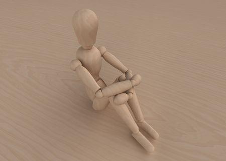 radiosity: Mannequin sitting on wood