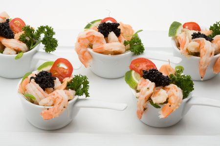 prawn appetizer with caviar Stockfoto